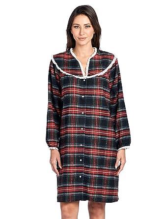 Ashford   Brooks Women s Snap Front Flannel Robe Long Sleeve Lounger Duster  House Dress 4b93f02c54