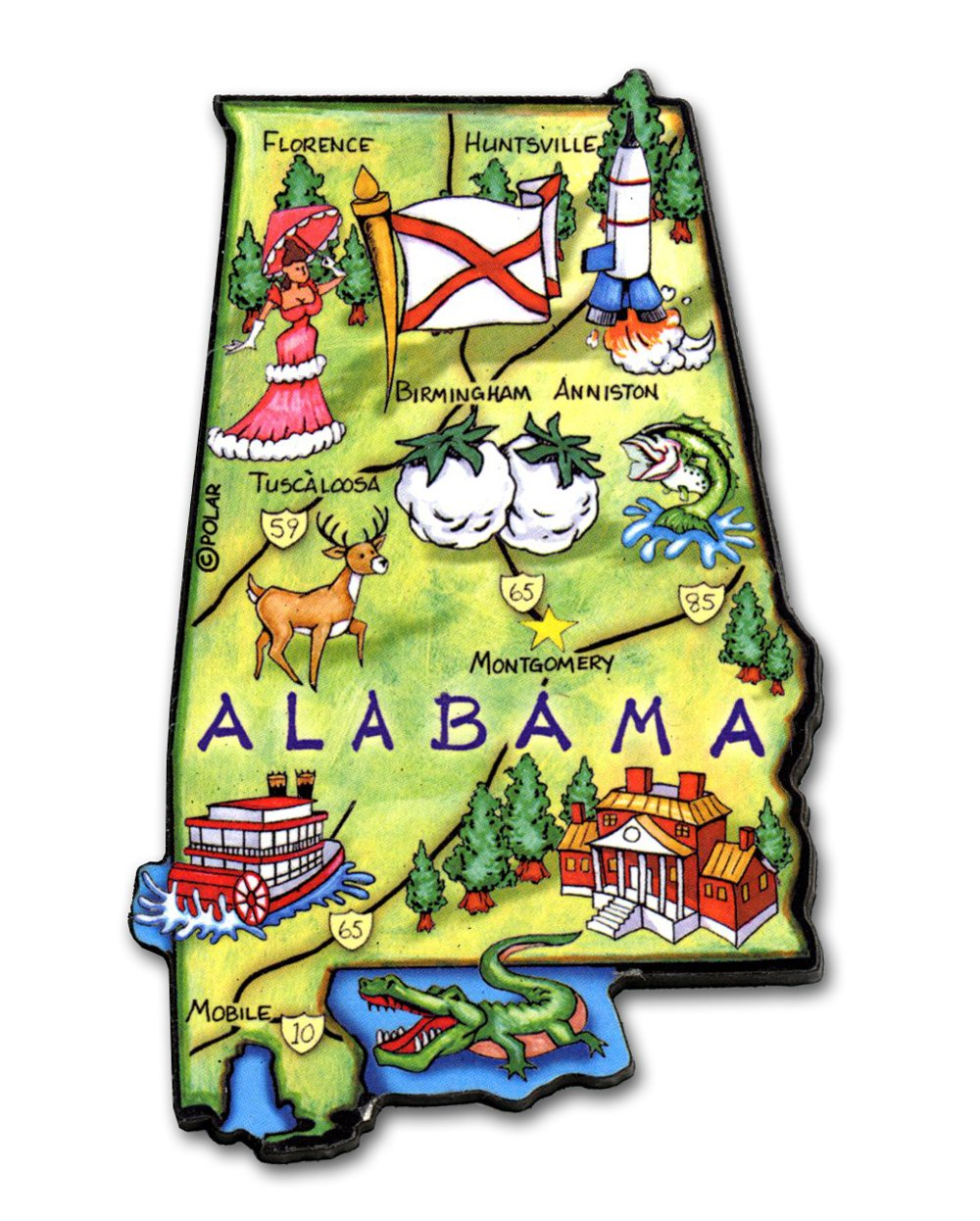 Alabama the Heart of Dixie Artwood Jumbo Fridge Magnet