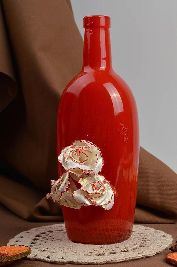Botella de vidrio pintada botella artesanal roja regalo original ...