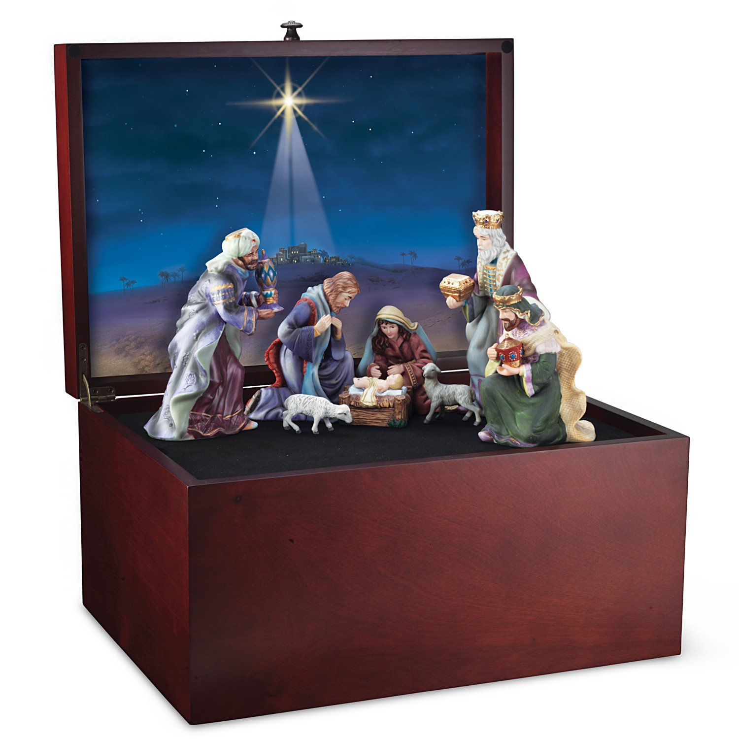Nativity Wooden Storage Box With Star Of Bethlehem Art by Hawthorne Village by Hawthorne Village