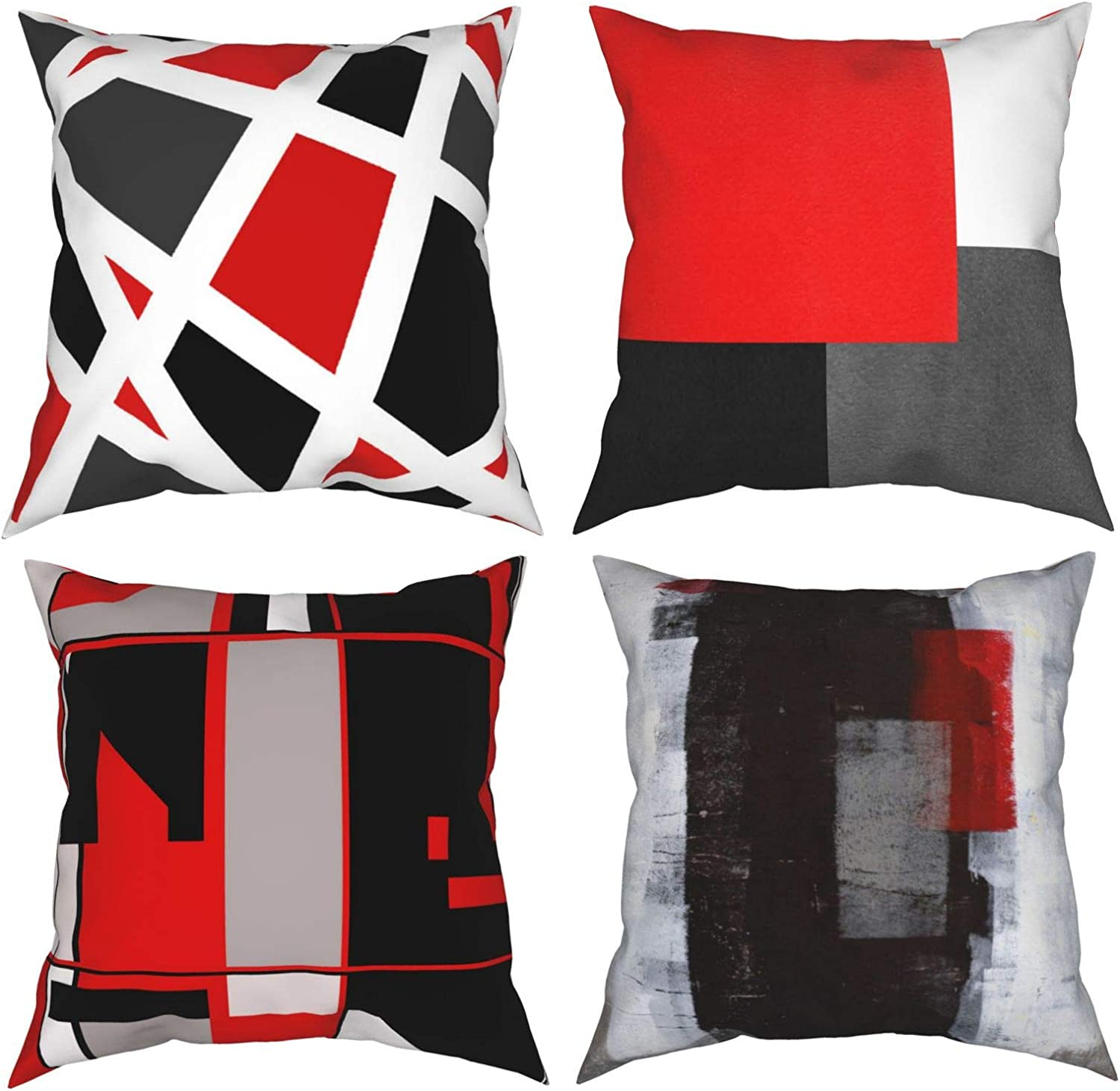 CURYSAMJUN Red and Black White Gray Pattern Retro Abstract Stripes Spiral Throw Pillow Covers Set of 4 Decorative Pillow Cases Home Decor Square Cushion Covers 20x20 Inches