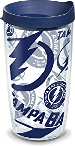 Tervis NHL Tampa Bay Lightning All Over Tumbler with Wrap and Navy Lid 16oz, Clear