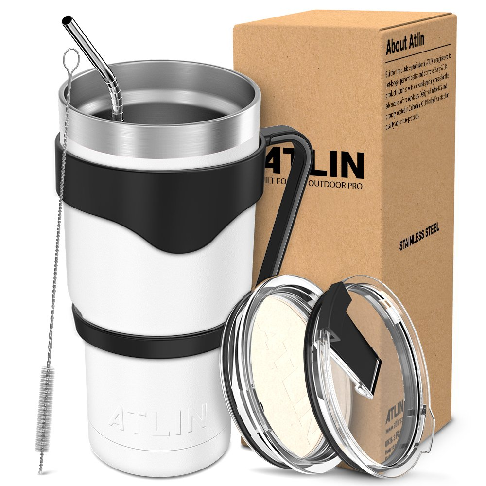 Atlin Tumbler [30 oz. Double Wall Stainless Steel Vacuum Insulation] Travel Mug [Crystal Clear Lid] Water Coffee Cup [Straw + Handle Included] For Home, Outdoor, Office, School,Ice Drink,Hot Beverage Ice Drink Hot Beverage Atlin Sports