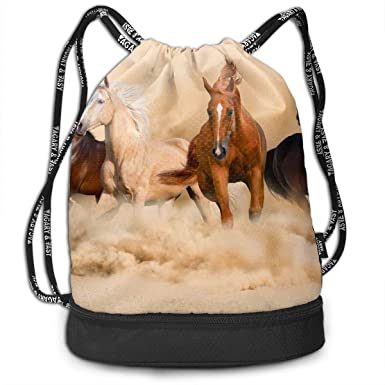 5b673c246d Image Unavailable. Image not available for. Color  Funny Dance Gift Unisex  Drawstring Fashion Beam Backpack Running Horse ...