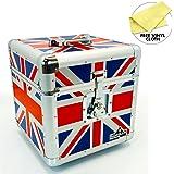 """Gorilla 12"""" LP Vinyl Record Storage Box Flight Carry Case Holds 100pcs Union Jack - Includes Lifetime Warranty"""