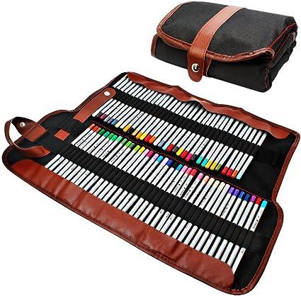 Lapiz Bolsa - TOOGOO(R) Estuche para lapices, organizador para 72 lapices, enrollable de lona lavable lapiz bolsa de Oficina Escuela de Arte etc.: Amazon.es: Oficina y papelería