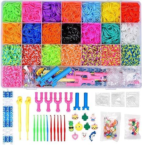 Kit de repuesto de bandas de goma arcoíris 6800 con 22 colores, juego de telar con