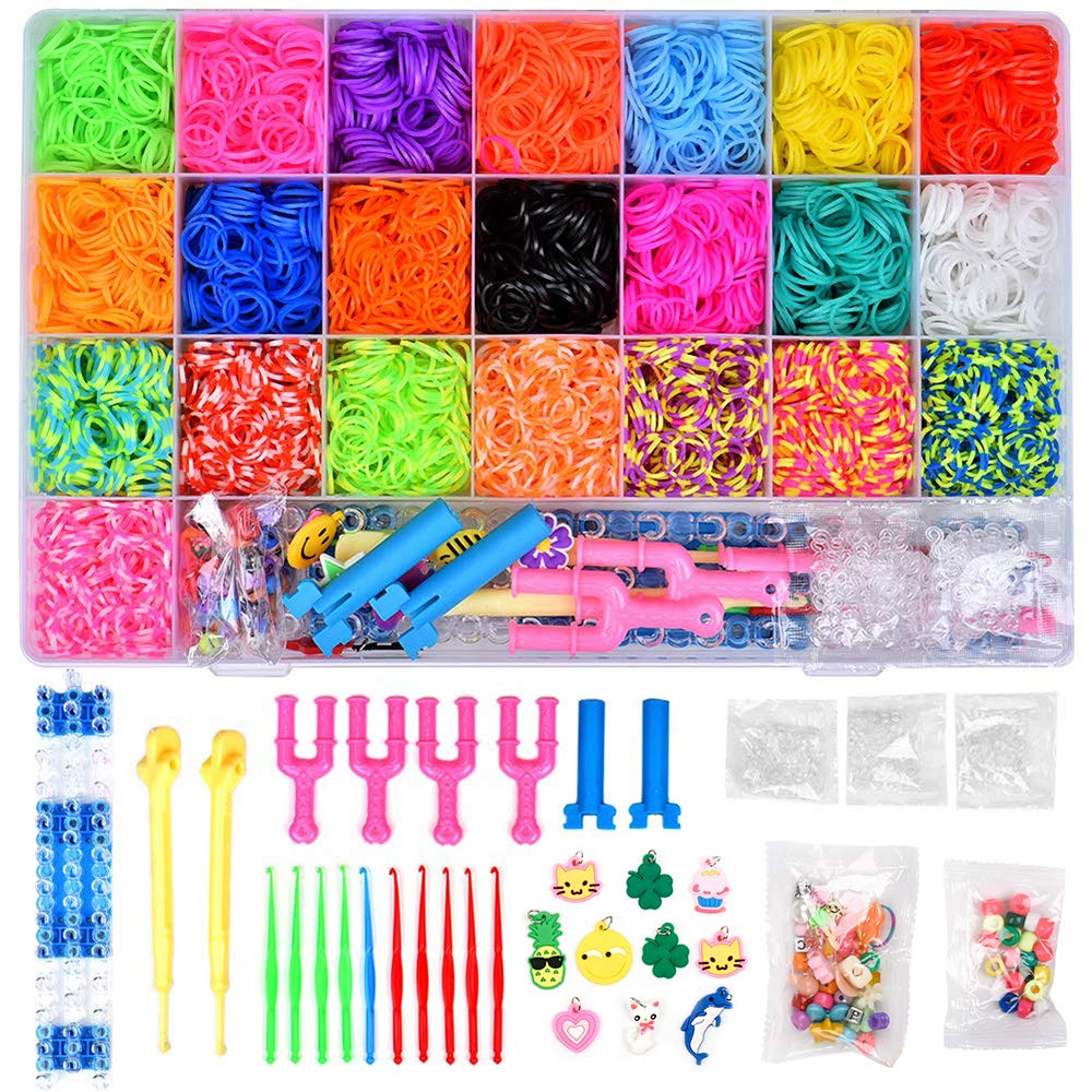 Rainbow Rubber Bands Refill Kit 6800 Loom Bands Kits with 22 Colors, Twist Loom Set with Beads,Clips,Web Frames,Backpack Hooks, Charms and Storage Case,Friendship Bracelet Maker Making Kit for Kids by BARCOTY
