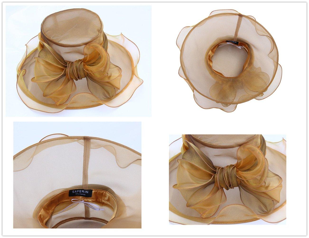 SAFERIN Women Wedding Dress Kentucky Derby Church Dress Organza Hat Wide Brim Flat Hat with Ruffled Bow Gold by SAFERIN (Image #6)