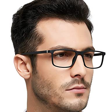 3ae4a0c4aac OCCI CHIARI Men Non Prescription Eyeglasses TR90 Glasses Frame with Clear  Lense Eyewear(Black)