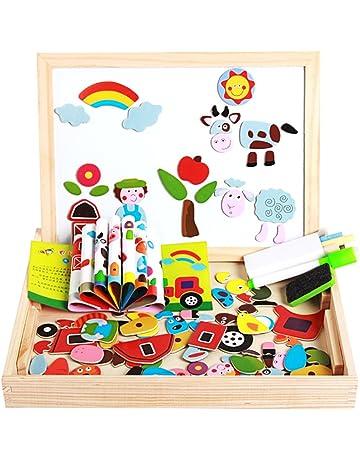 BEETEST Puzzles Rompecabezas Magn/éticos juego tablero de dibujo conjunto doble cara desarrollo de madera juguetes educativos regalo para ni/ños de 3 a/ños