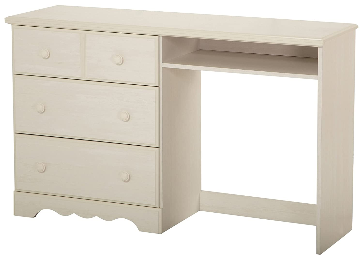 South Shore Furniture Summer Breeze Desk with 3 Drawers, White Wash 3210070