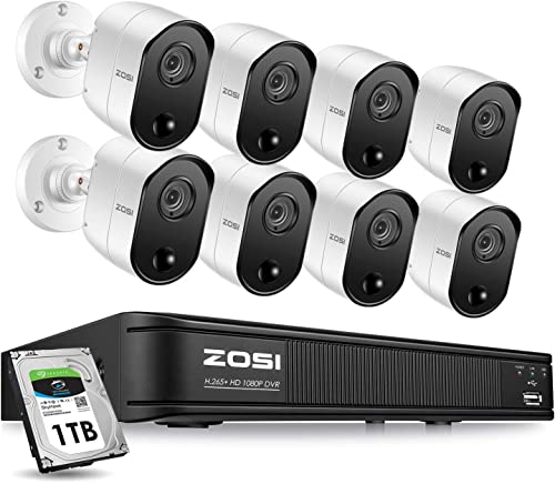 ZOSI 1080p 8 Channel Security Camera System for Home, H.265 CCTV DVR with Hard Drive 1TB and 8 x 2MP Surveillance Bullet Camera Outdoor Indoor with PIR Motion Sensor,Day Night Vision,Remote Access