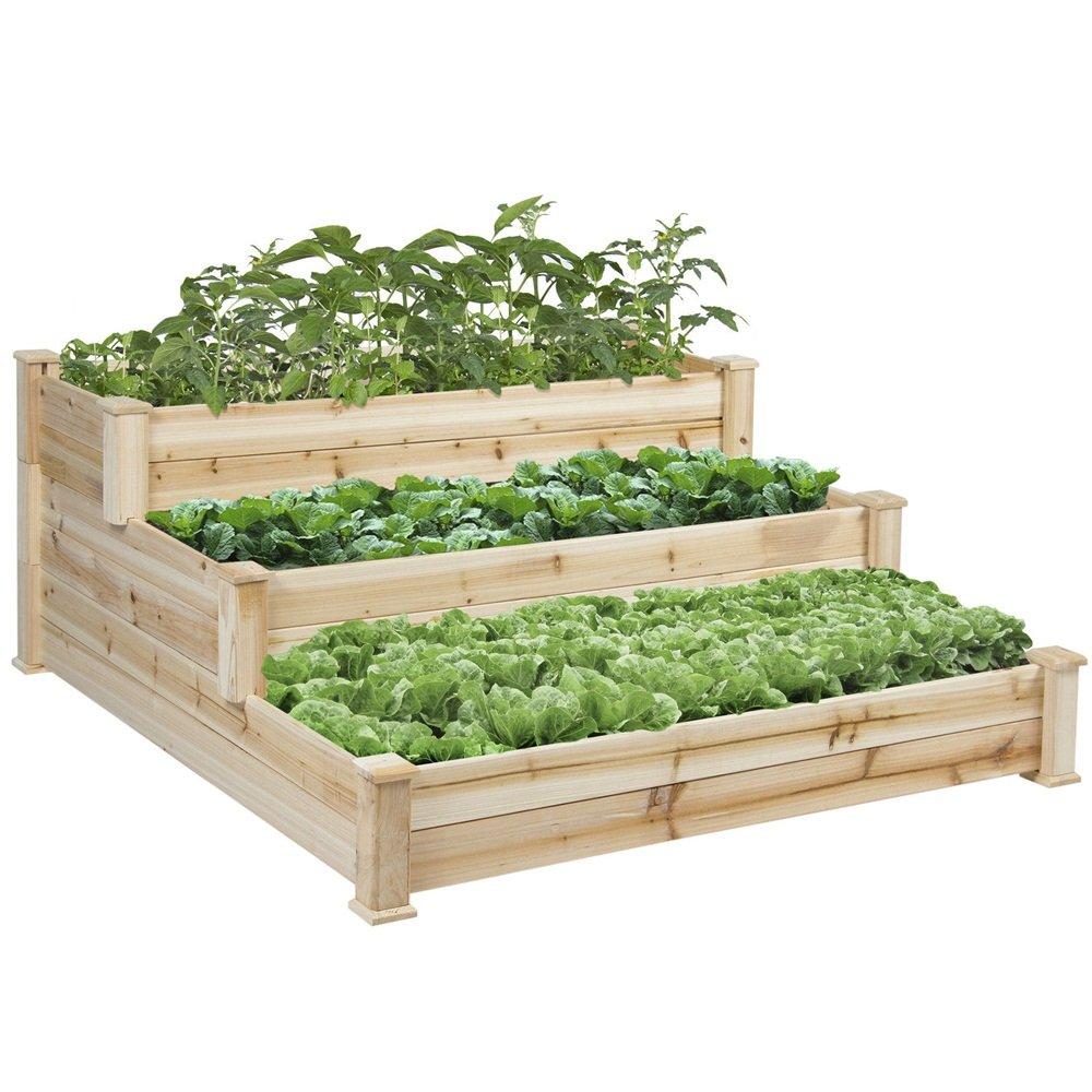 Vegetable Garden Wooden Raised Bed 3 Tier Gardening Planter Kit Outdoor