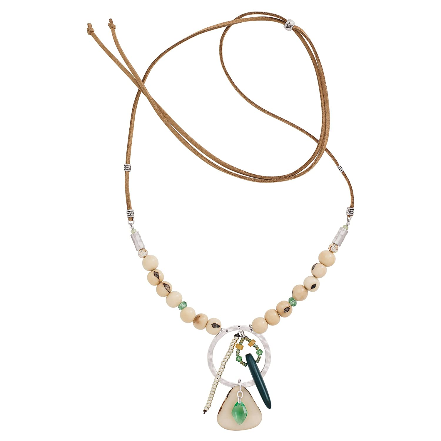 Silpada Tropical Palms Tagua Nut Acai Seed Necklace with Swarovski Crystals in Sterling Silver Cord