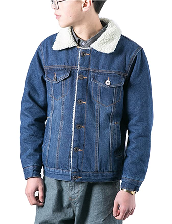 Lentta Mens Vintage Relax Fit Thick Fleece Sherpa Lined Denim Jean Jacket Coat