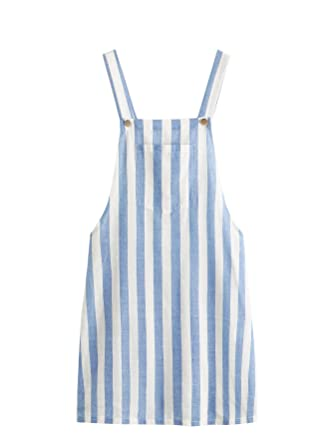 c90ddd5b0a3 MAKEMECHIC Women's Bid Strap Pocket Dungaree Mini Overall Dress Striped XS