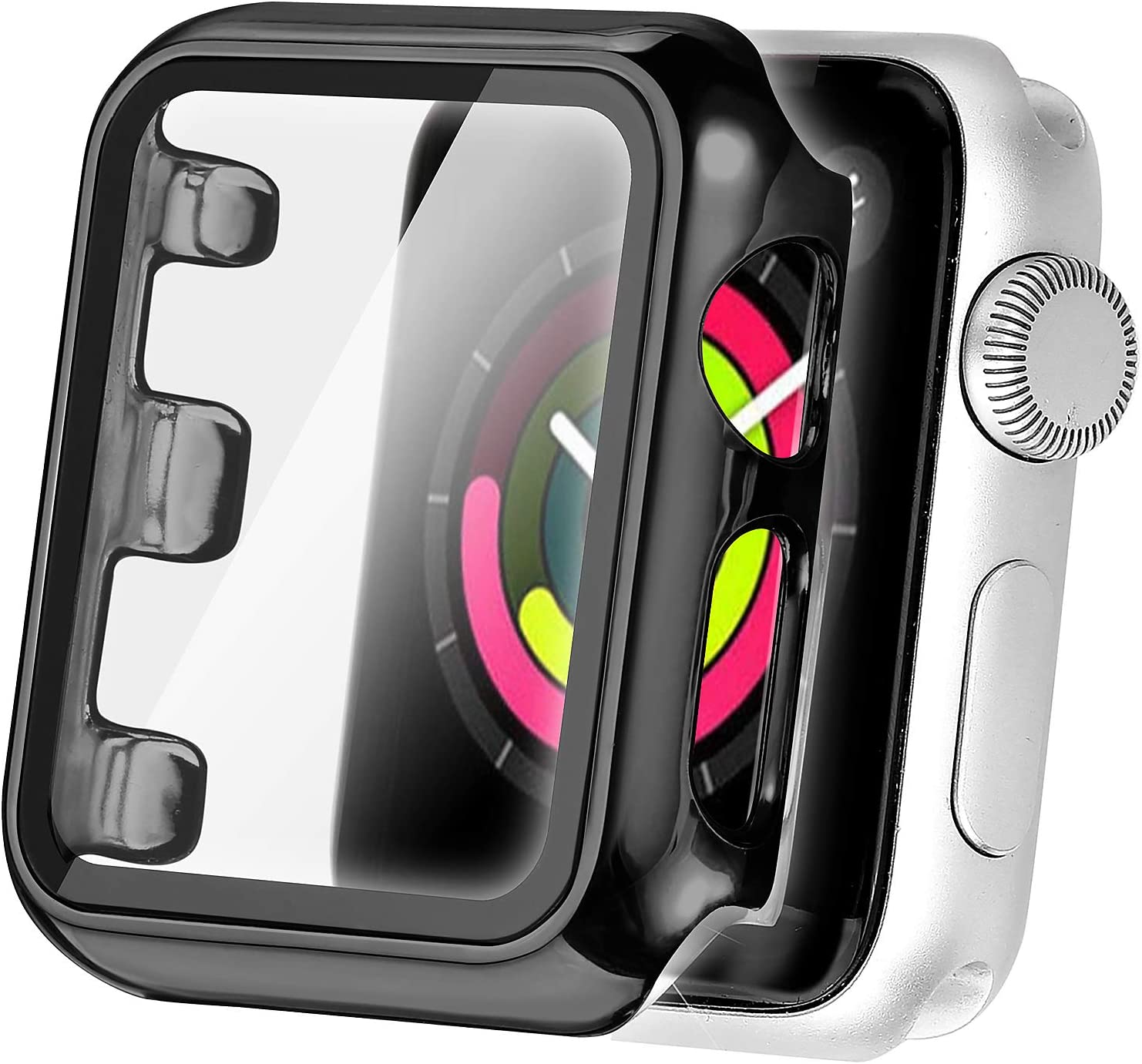 Secbolt Case Compatible Apple Watch Series 4 & Series 5 with Built in Tempered Glass Screen Protector 44mm- All Around Protective Case for Apple Watch Series 5/4 44mm (Black)
