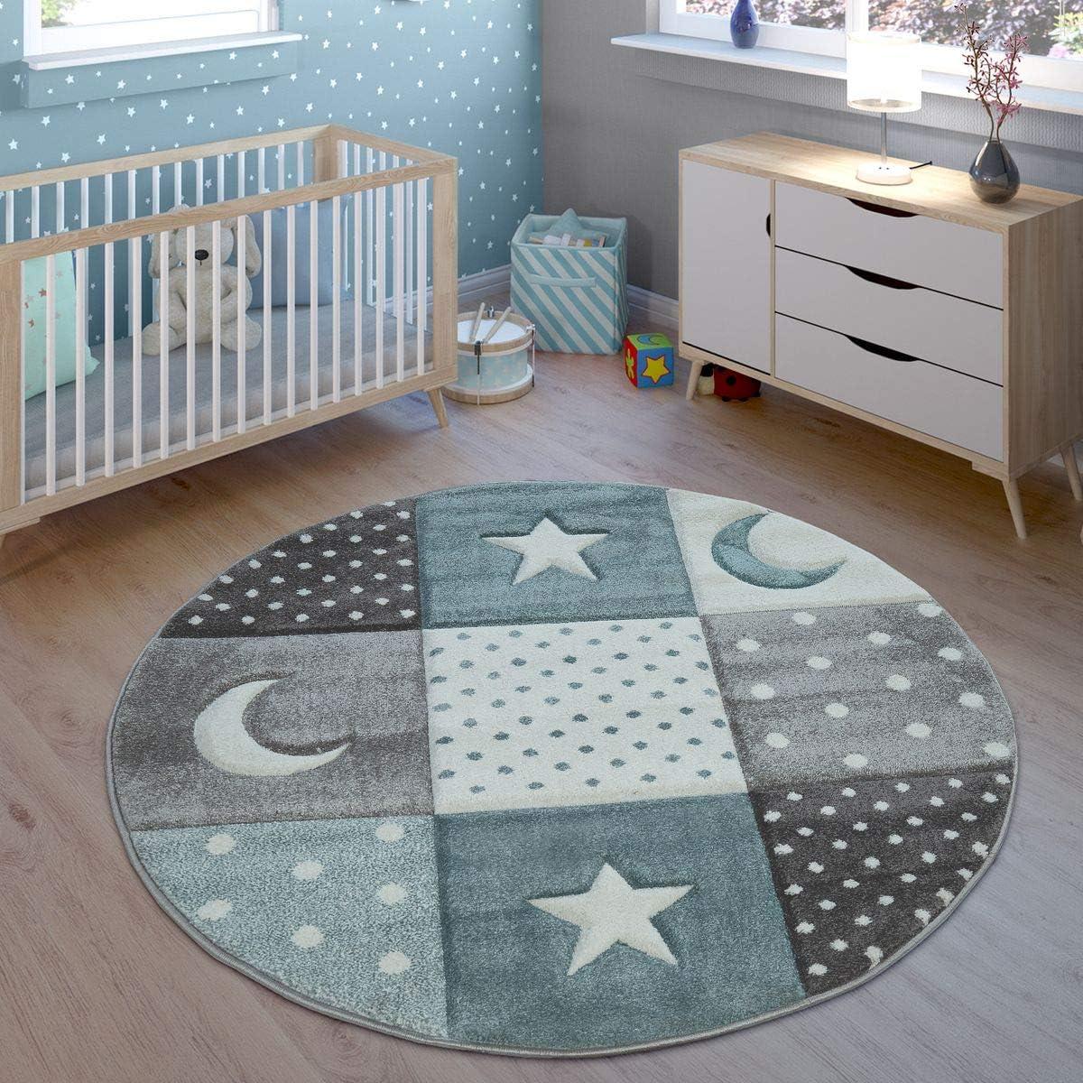 Gr/ö/ße:80x150 cm Kinder Teppich Spielteppich Karos Punkte Sterne Mond Pastell T/ürkis Wei/ß Grau