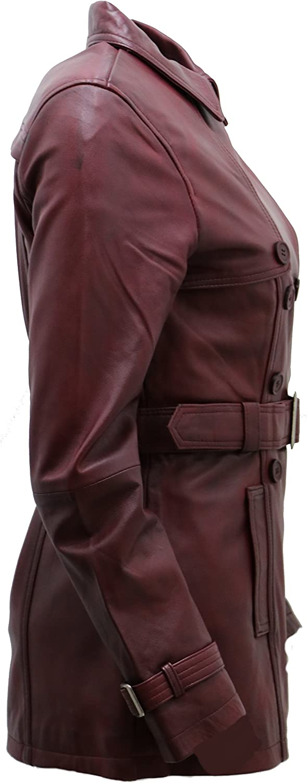 Women/'s 3//4 Burgundy Ladies Lamb Nappa Leather Trench Coat