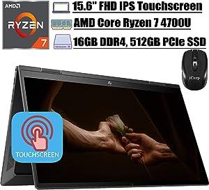 """2020 Newest HP Envy X360 15 2 in 1 Laptop 15.6""""FHD IPS Touchscreen AMD Octa-Core Ryzen 7 4700U (Beats i7-10510U) 16GB DDR4 512GB PCIe SSD WiFi B&O AlexaBacklit FP Win 10 + iCarp Wireless Mouse"""