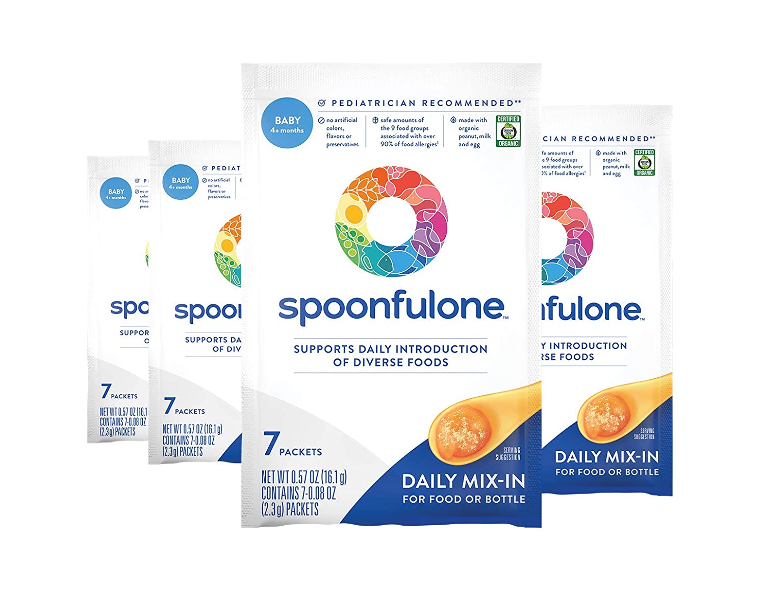 SpoonfulOne Early Allergen Introduction Mix-Ins | Smart Feeding for an Infant or Baby 4+ Months | Certified Organic (28 Packets)