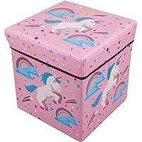 AOTUO Cartoon Collapsible Storage Organizer Ottoman for Kids Bedroom Stool Seat Children Toy Storage Box