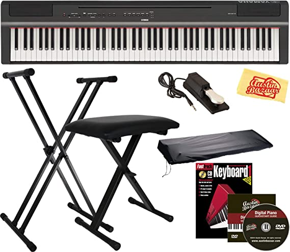Yamaha P-125 Digital Piano - Black Bundle with Adjustable Stand