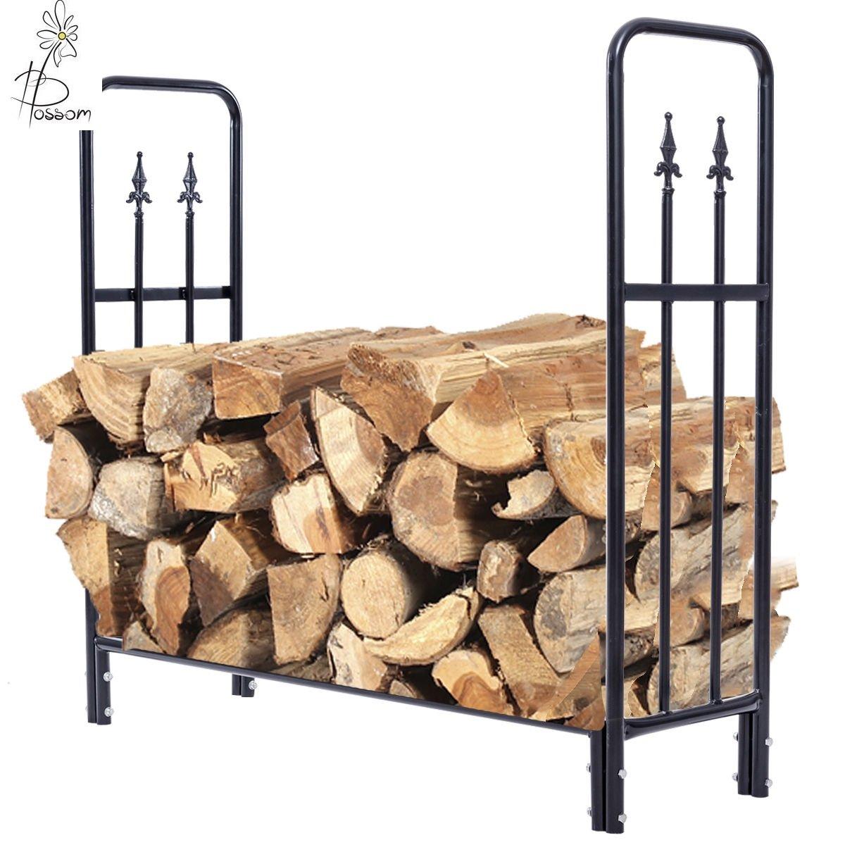Blossom Store 4 Feet Outdoor Heavy Duty Steel Firewood Log Rack Wood Storage Holder Black by