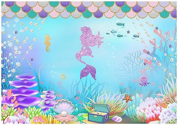 Amazon.com: Funnytree - Fondo de fotografía de sirena para ...