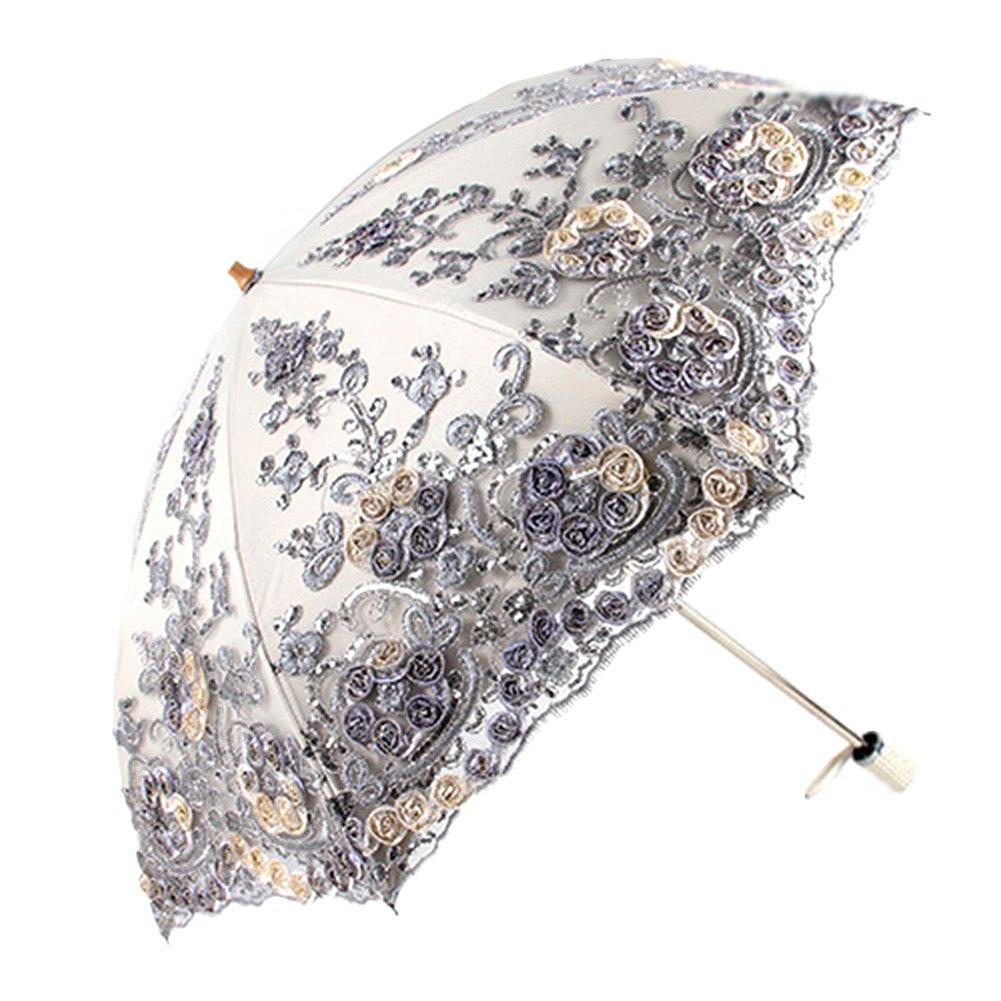 Honeystore Wedding Lace Sun UV Parasol 2 Folding 3D Flower Embroidery Umbrella Grey