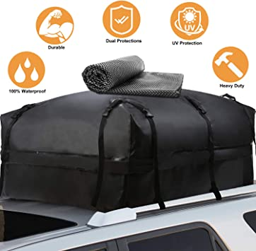 11 Cu Ft, Gray 100/% Waterproof Roof Top Cargo Carrier for any Car Van or SUV