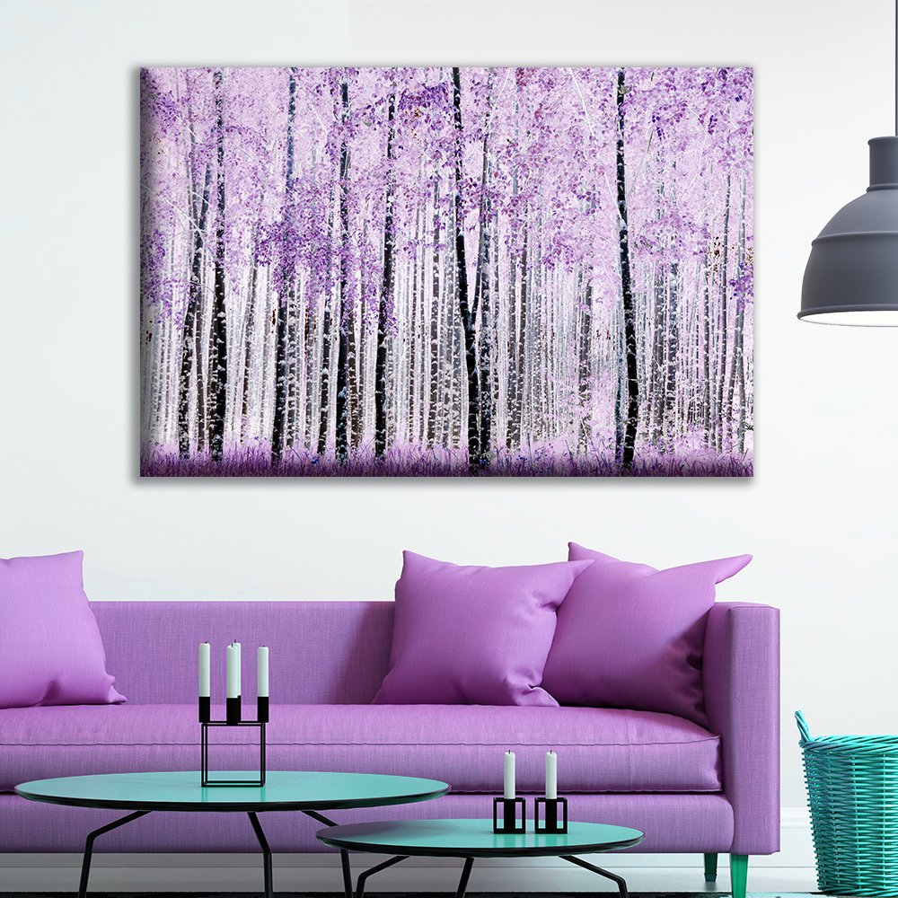 Canvas Wall Art - Abstract Trees with Purple Leaves in The Forest - Giclee Print Gallery Wrap Modern Home Art Ready to Hang - 24x36 inches