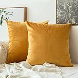 MIULEE 2 件装饰奢华系列美利奴风格抱枕套靠垫套沙发卧室汽车 M-velvet Gold 2 pieces, 18''x18'' double_18inch-throw-pillow-24