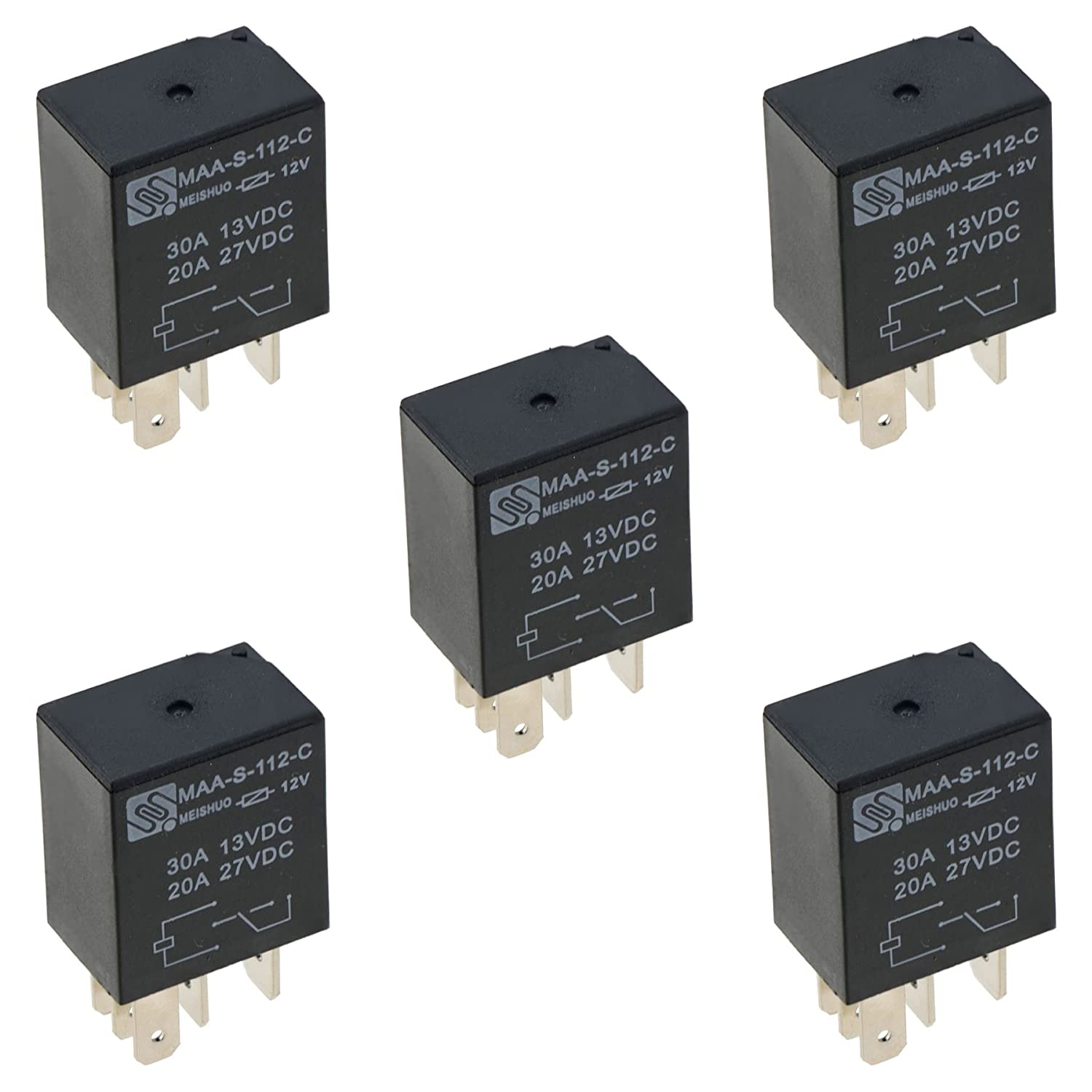 5  Pin   Relay Changeover   set of  4    on on   20//30A  12V