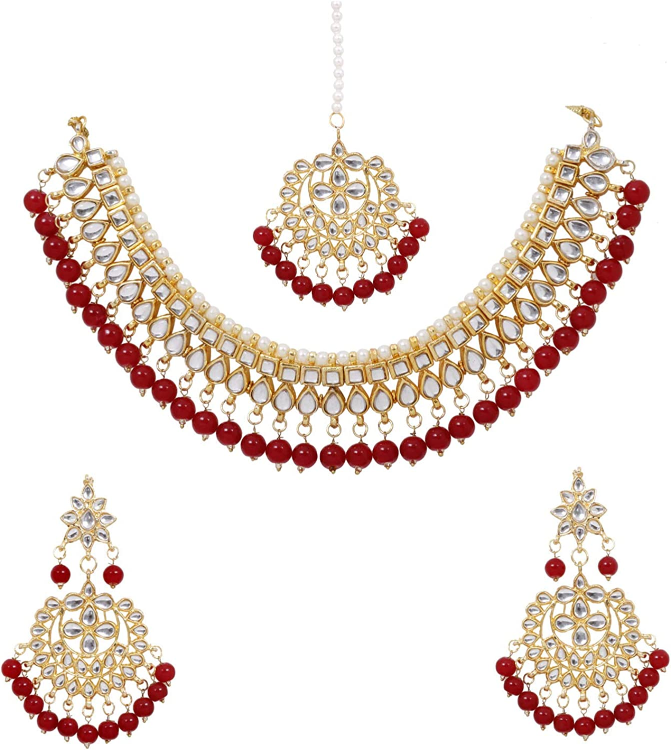 Indian Jewelry Set Bollywood Necklace Earring Set Ethnic Gold Plated Traditional Set