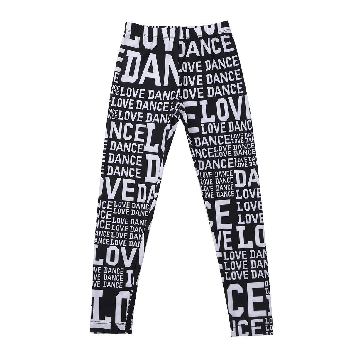 TiaoBug Kids Girls Letters Love Dance Athletic Active Leggings Dancewear