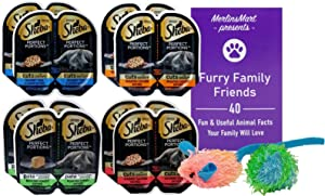 Sheba Perfect Portions Premium Cat Food Pate Cuts 4 Flavor 8 Can Variety Sampler, (2) Each: Tuna Shrimp, Chicken, Turkey, Salmon (2.6 Ounces) - Plus Catnip Toy and Fun Facts Booklet Bundle