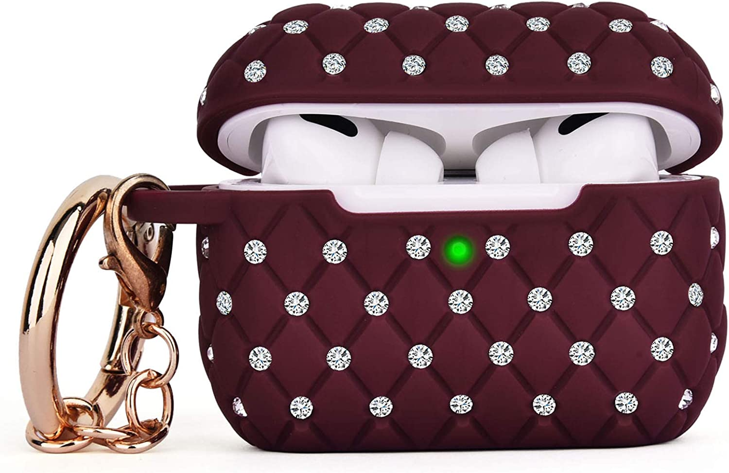 CAGOS Compatible with Airpods Pro Case, Cute Accessories Bling TPU Case Full Protective Hard Carrying Cover Women Girls with Shiny Crystal/Keychain for Apple Airpods 3 Charging Case (Burgundy)