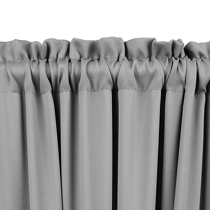 Panovous Grey French Door Curtains For Small Windows Rod Pocket