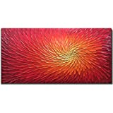 Amei Art Paintings,24X48 Inch 3D Hand-Painted Artwork Abstract Blooming Flower Painting On Canvas Red Art Wood Inside Framed Hanging Wall Decoration Textured Abstract Oil Painting (Fiery Red)