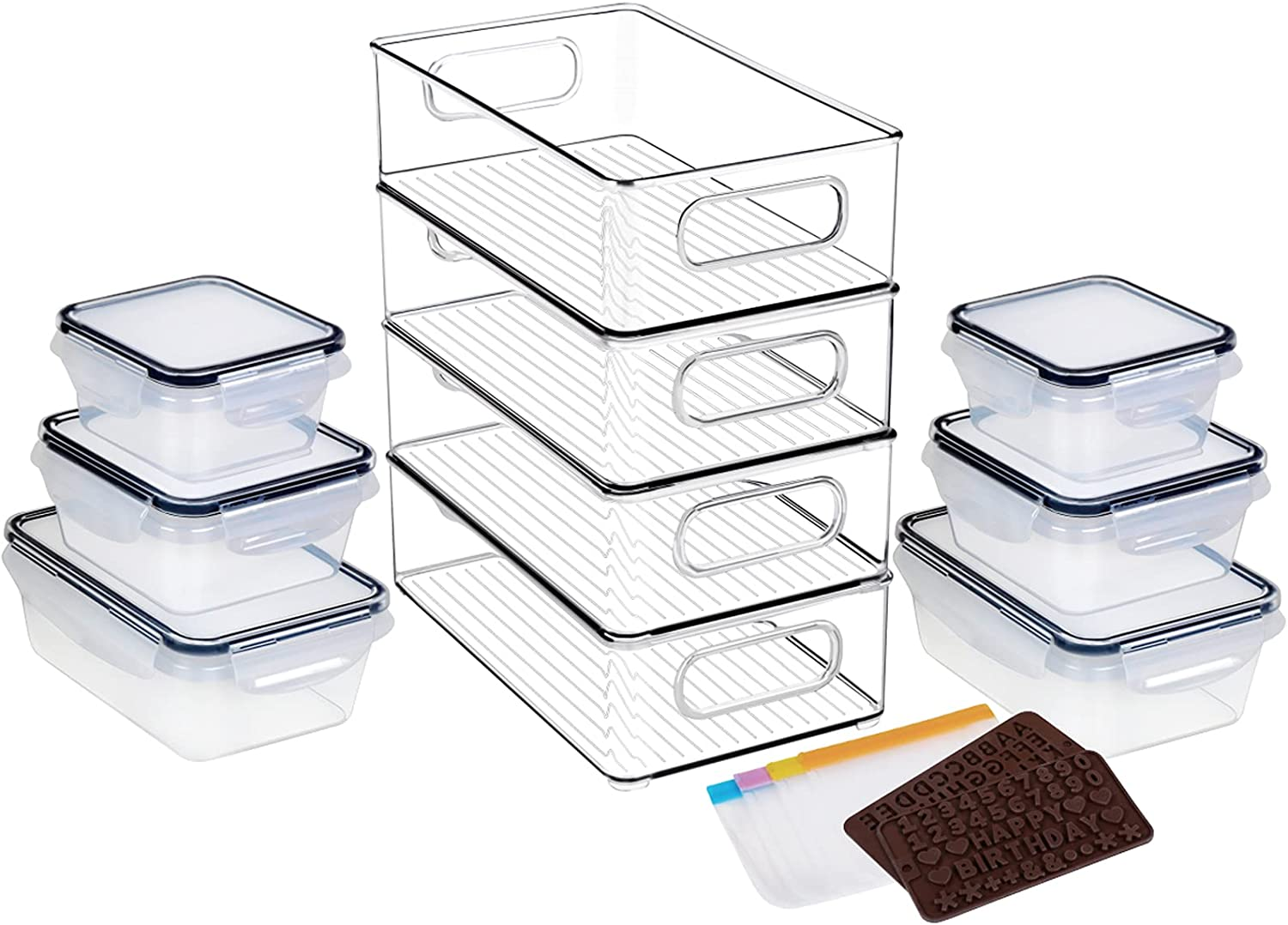 4 Pack Fridge Organizer Bins 10Lx6Wx3H Inch - Stackable Refrigerator Organizers Clear Pantry Storage With /6 Pack(840ML2,550ML2,350ML2) Plastic Freezer Food Container Set for Organization kitchen…