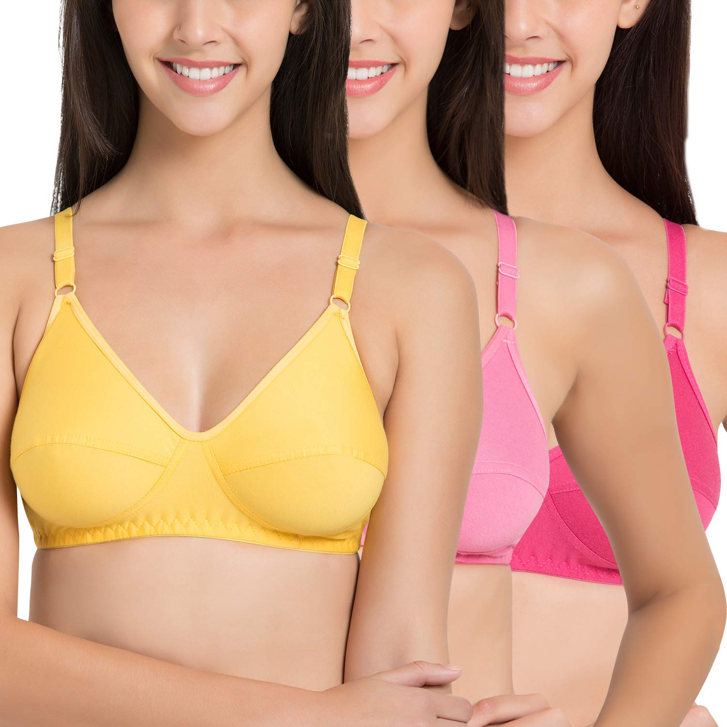 3dd3b118c SOUMINIE Soft-Fit Cotton Yellow Pink Dark Pink Non Padded Bra - (Pack of 3)   Amazon.in  Clothing   Accessories