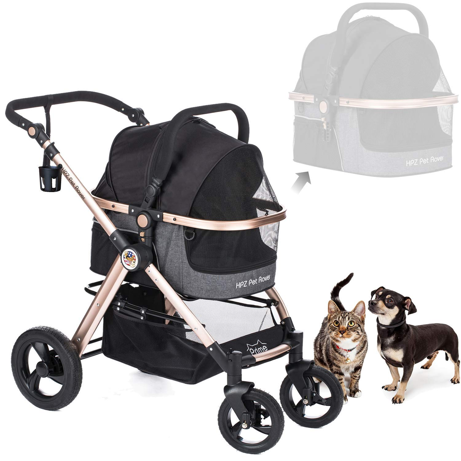 HPZ Pet Rover Prime 3-in-1 Luxury Dog Cat Pet Stroller Travel Carrier Car Seat Stroller with Detach Carrier Pump-Free Rubber Tires Aluminum Frame Reversible Handle for Medium Small Pets