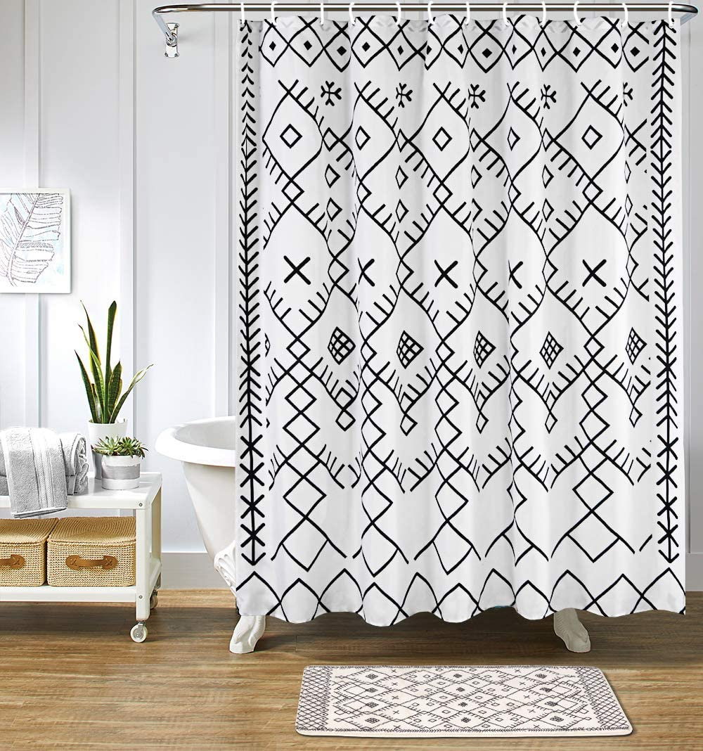 Uphome Boho Moroccan Stall Shower Curtain Fabric Geometric Trellis Shower Curtains Black and White Tribal Shower Curtain Set with Hook Chic Bathroom Decor,Heavy Duty Waterproof, 54x78
