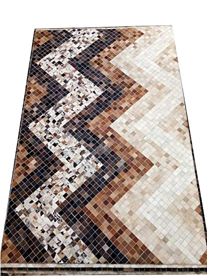 Home Modern Grey Natural Patchwork Cowhide Handmade Area Rug
