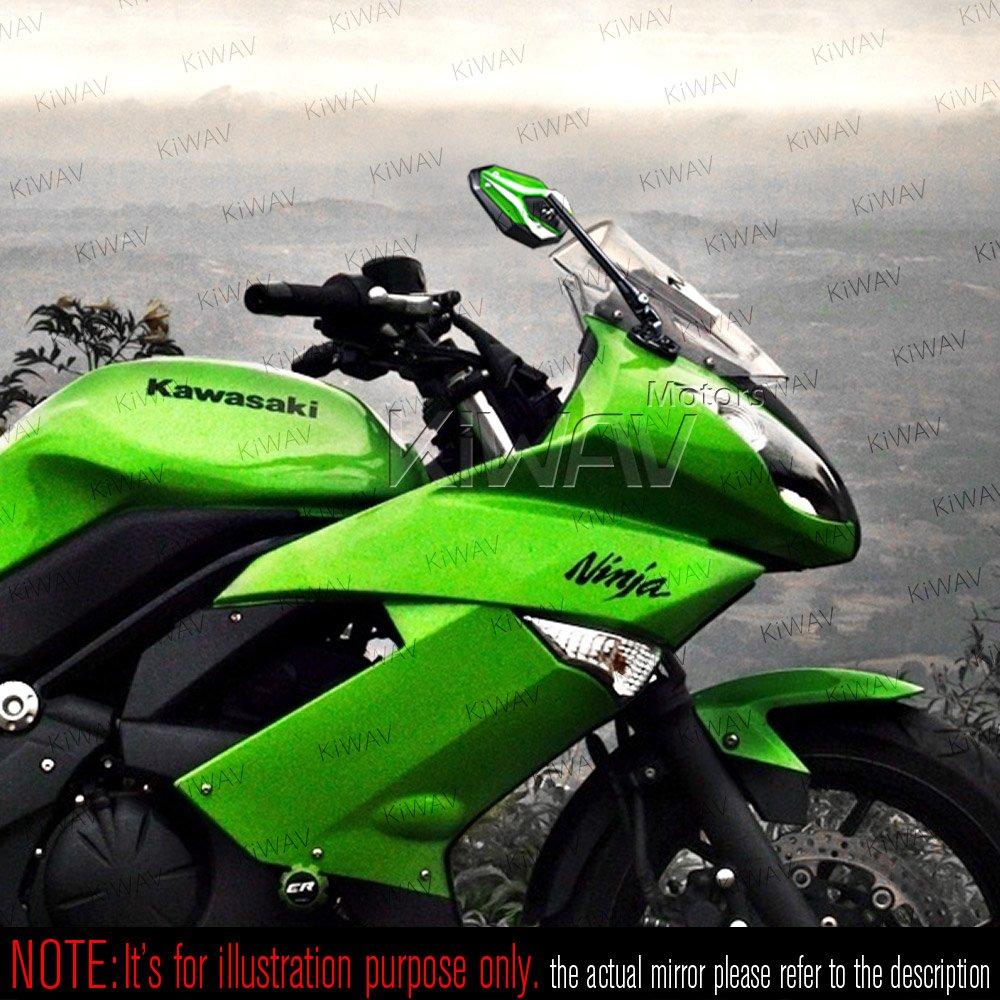 KiWAV Magazi Viper II motorcycle mirrors green fairing mount w/ matte black adapter for sports bike adjustable e by KiWAV (Image #3)
