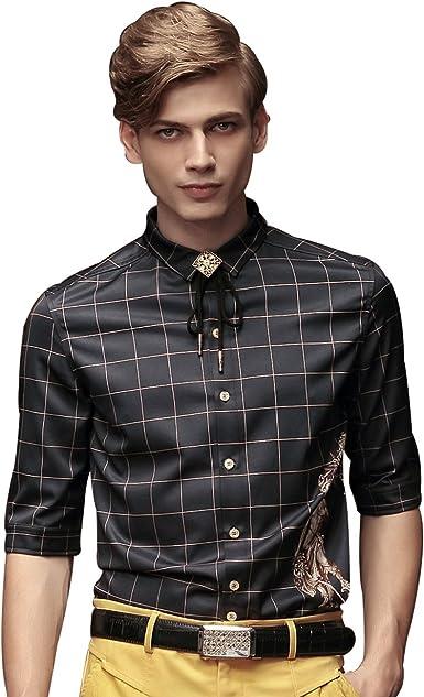 FANZHUAN Camisas Manga Corta Hombre Camisa Hombre Non Iron Camisa Fiesta Hombre: Amazon.es: Ropa y accesorios