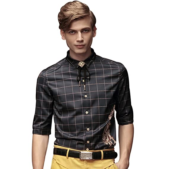 32302b077433 FANZHUAN Checkered Shirts Men Casual Black Shirt for Men Checked Shirt Mens Slim  Fit