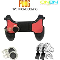 ONBN 5 in 1 Mobile Gamepad Controller Joystick with l1 r1 Trigger for 4.5-6.5 inch Android iOS Phones for PUBG/Fortnite/Rules of Survival (Black/Red)